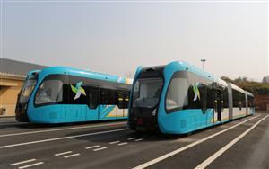 全国首个县级智能轨道电车在江西省赣江新区永修示范线开始试乘体验
