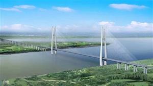 安九铁路鳊鱼洲长江大桥首节钢梁架设完成